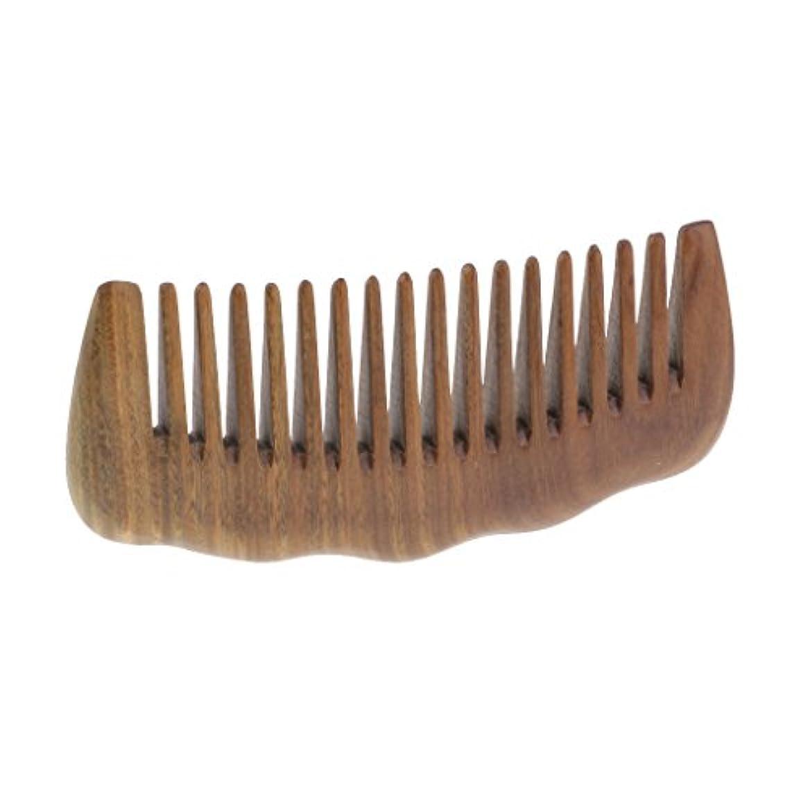 起きる来て採用T TOOYFUL 広い歯の櫛のサンダルウッドのアロママッサージの毛のもつれを解くブラシのひげの櫛