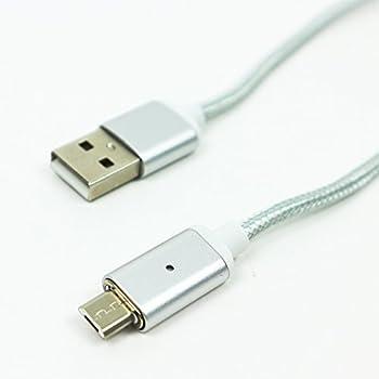 リッツソフト スマホ 充電ケーブル マグネット 磁石式 USB接続 Android用 充電器 LEDランプ搭載 (シルバー)
