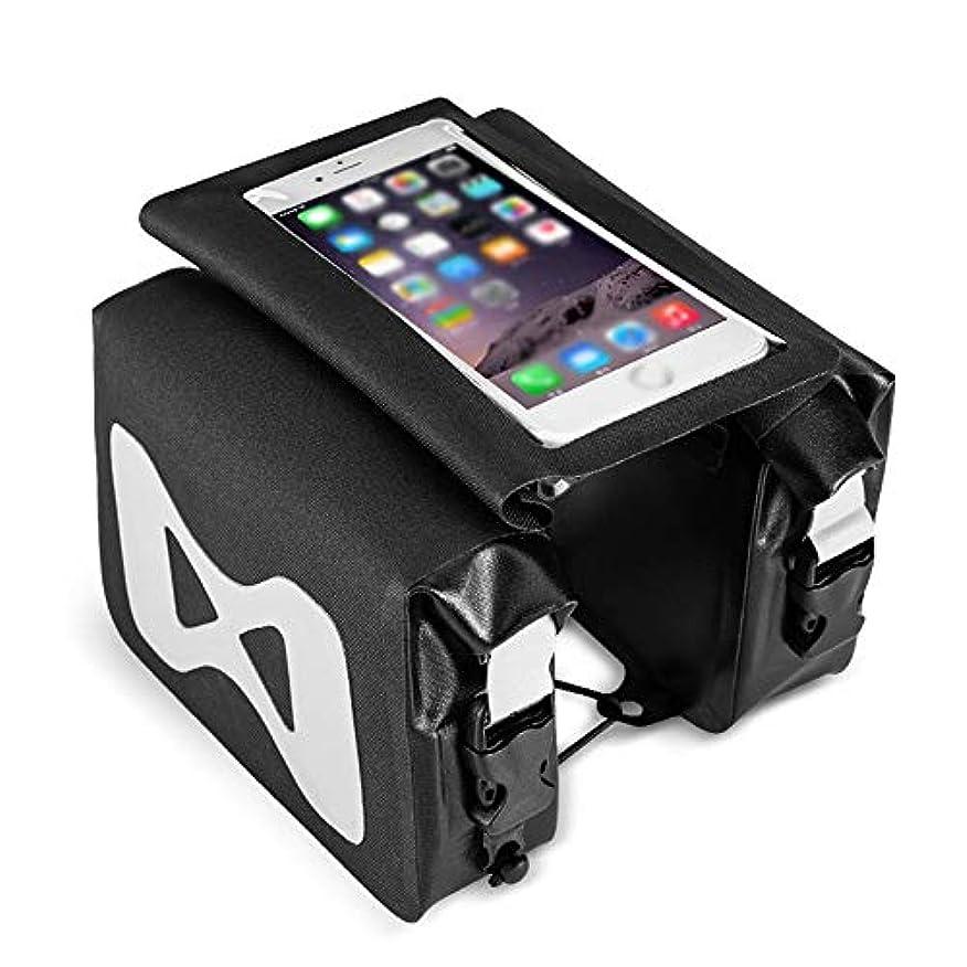 聴くハンカチ薄いです自転車フレームバッグ 6.2インチのスマートフォン防水自転車フレームバッグヘッドチューブバッグ付きTPU敏感なタッチスクリーンのダブルバッグの保護クロスバーバッグ用 幅広い使用と安定性 (色 : Black, Size : 13x18cm)