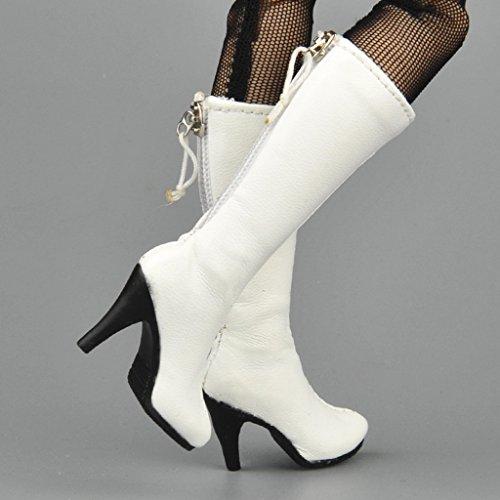 Lovoski 4ペア(4色)  ファッション 1/6スケール  ミッドカーフ  ニーハイ   ブーツ  ジップ  靴  12インチ  女性フィギュア用