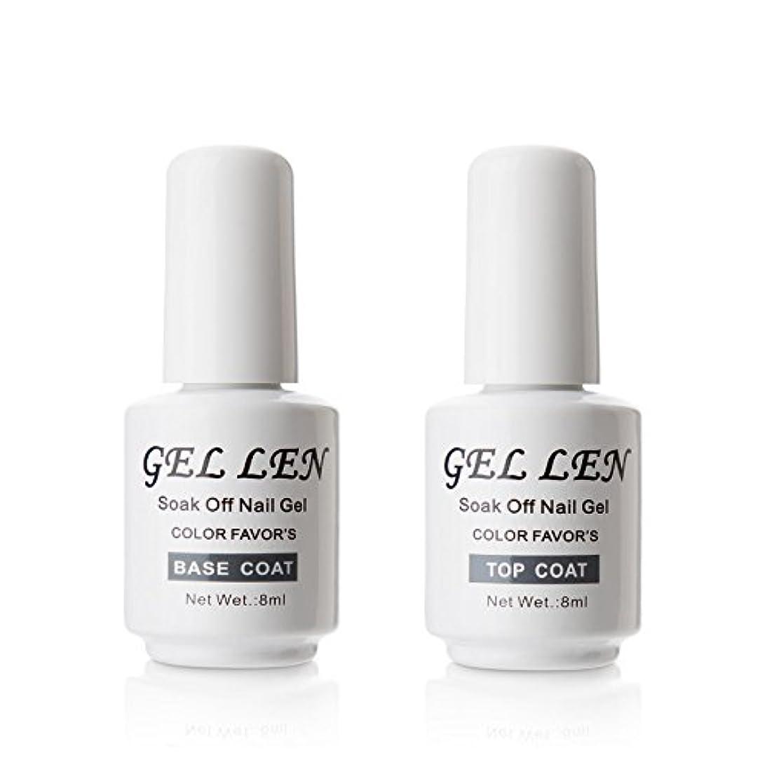 細心の変形する支配するGellen ジェルネイル UV LED ベースコート&トップコート セット 8ml