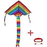 SLIFAKER 凧 微風で揚がる凧 カラフルカイト 虹カイト 組み立て簡単 上昇やすい 子供と大人のおもちゃ 凧系が付き