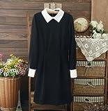 Gressu(TM)ファッションスタースタイルのドレススリムエレガントターンダウンカラー長袖ブラックドレス女性のための