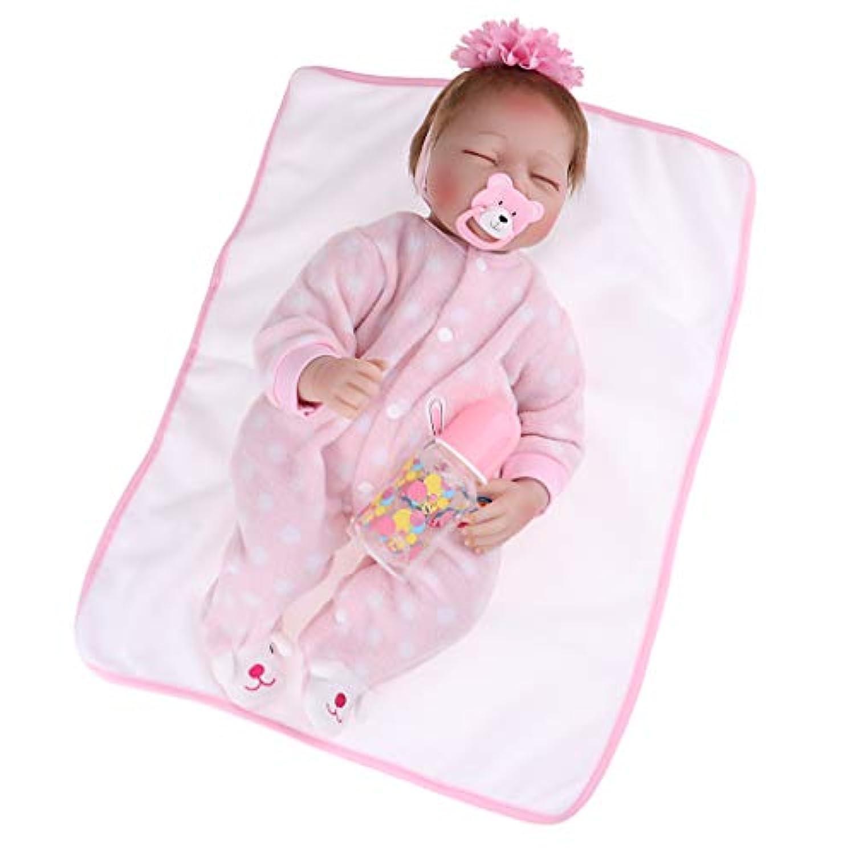 KESOTO 22インチリボーンベビードール 新生児人形衣類 哺乳瓶 おしゃぶり カーペット アクセサリー