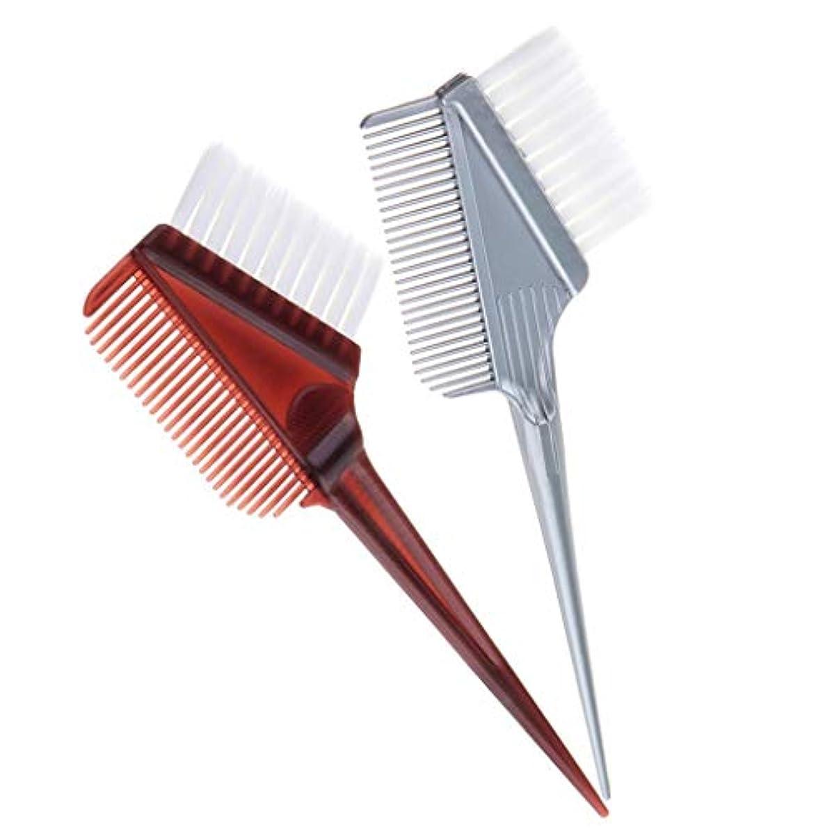 見捨てられた表面サンダルヘアダイブラシ ヘアカラー 毛染め ヘアダイコーム カラーリングブラシ 家庭用 美容師 2本セット