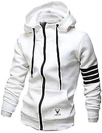 Sodossny-JP メンズファッションスリムフーディーフルジッパー軽量フード付きスウェットシャツジャケット