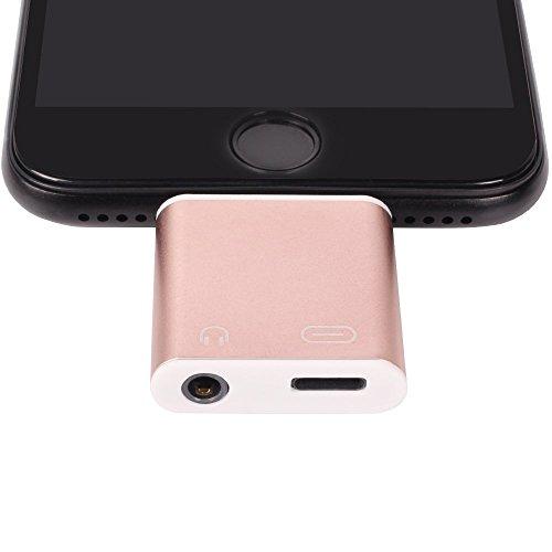 WOPOW iPhone7/7 Plus Lightning 3.5mm ステレオヘッドフォンジャック変換アダプタ 充電可能イヤホン出力ライトニング  (ピンク)