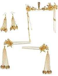 FLAMEER 中国 伝統的 ゴールド ティアラ タッセル ピアス 髪飾り エレガント アクセサリー