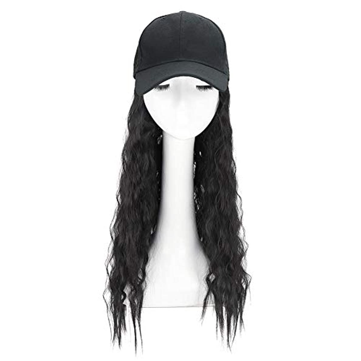 気づく開発繁雑Brill(ブリーオ)帽子ロングカーリーウェーブ女性ファッション野球帽ブラックウィッグ