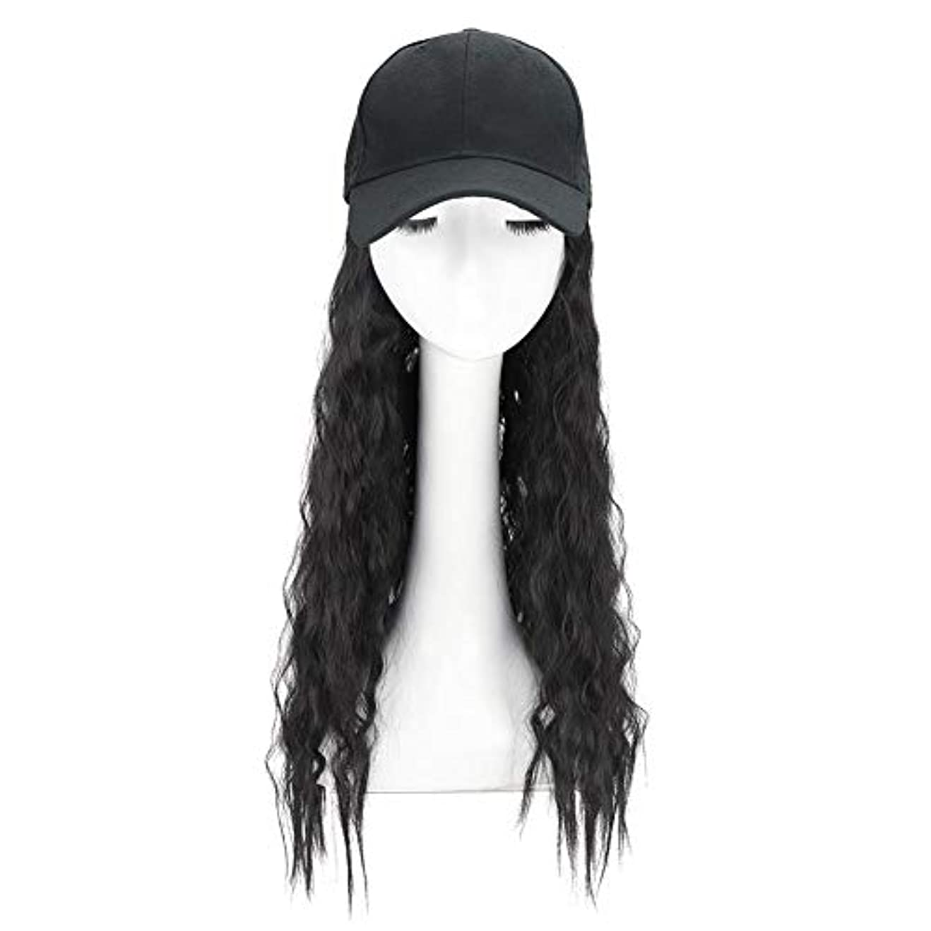 広告主乱れサイクロプスBrill(ブリーオ)帽子ロングカーリーウェーブ女性ファッション野球帽ブラックウィッグ