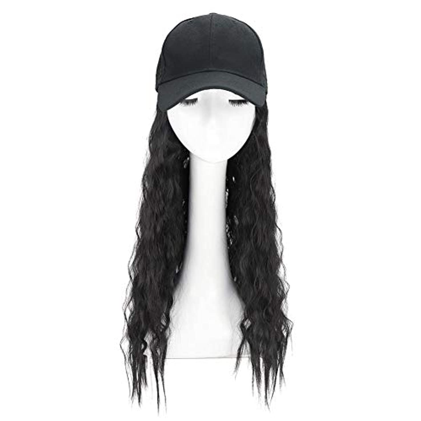 苦味失望させる保全Brill(ブリーオ)帽子ロングカーリーウェーブ女性ファッション野球帽ブラックウィッグ
