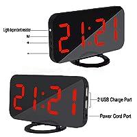 """ミラー付き電子時計、6.5""""大型ミラー付きLED目覚まし時計、自動/手動調光器、スヌーズ付きデュアルUSBポート (色 : 赤)"""