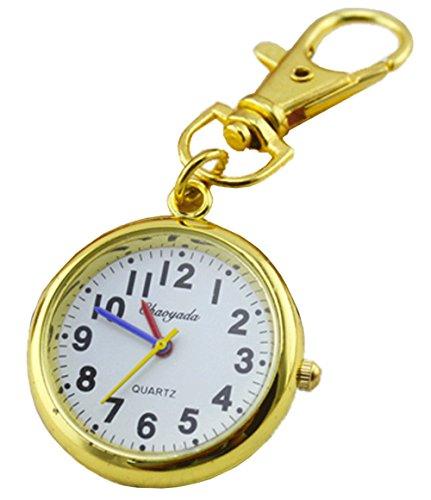 Ladyclare キーチェーンウォッチ 小さな 懐中時計 フックウオッチ 見やすい文字盤 時計 キーホルダー ゴールド 秒針:赤 青 黄 【正規品】