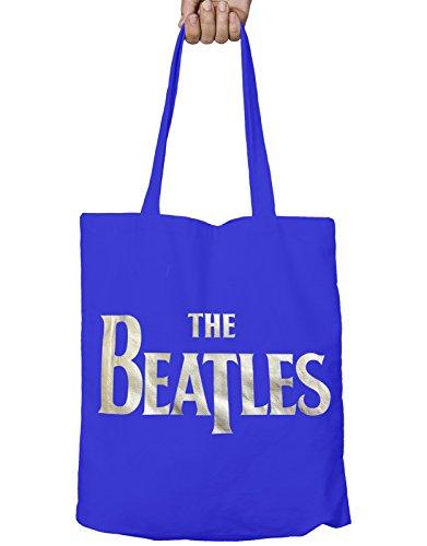 The Beatles シルバー Drop T Logo 新しい 公式 ブルー Eco-Shopper Bag 37cm x 38cm