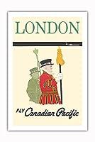 ロンドン - 王宮衛兵 - カナディアンパシフィック航空で飛ぶ - ビンテージな航空会社のポスター c.1961 - プレミアム290gsmジークレーアートプリント - 61cm x 91cm