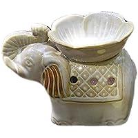 SeleCreate 陶器製 アロマ ポット アジアン 雑貨 ティーライト キャンドルホルダー 香炉 象と蓮の花 (白)