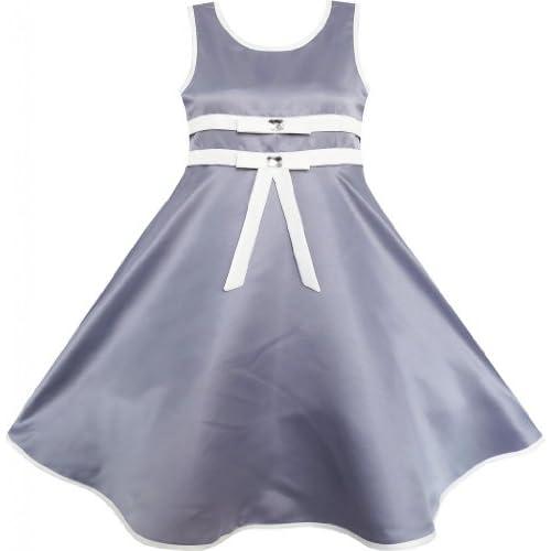 EN24 子供ドレス キッズドレス フラワードレス 結婚式 発表会 グレー エレガント ガール 140cm