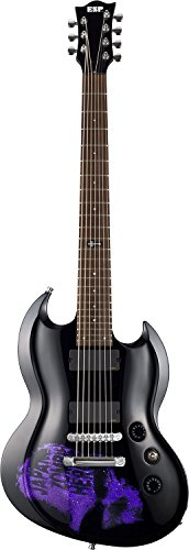"ESP エレキギター D-KV-7st (Black w/Purple Sparkle Skull) DIR EN GREY 薫 Model ""7strings"""