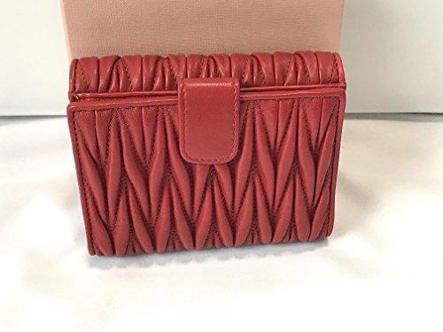 new product 4526f 6389d ミュウミュウ) miumiu 長財布折りたたみ財布レディースレッド ...