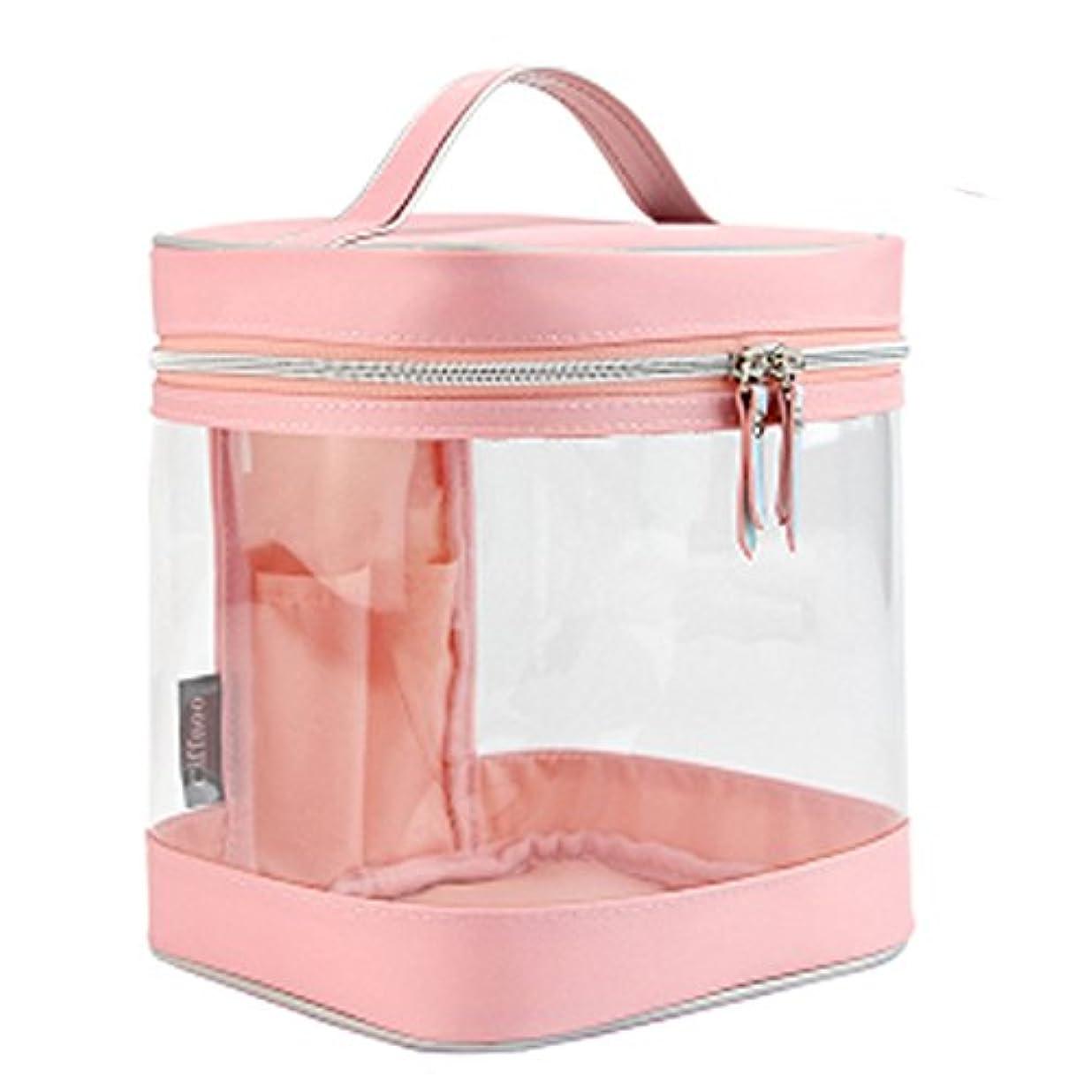 冬枯れる圧縮化粧ポーチ 防水 透明 PVC コスメポーチ高品質 トイレタリーバッグ 洗面用具収納ポーチ 旅行 (ピンク)