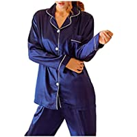 [オジェニ] パジャマ 寝巻き 部屋着 シルク風 セット 3カラー