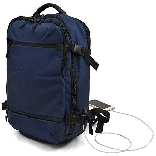リュック 【レインカバー × USBポート】 フルオープン [プレックス] 大容量 ビジネス カジュアル 選べる2サイズ M ネイビー