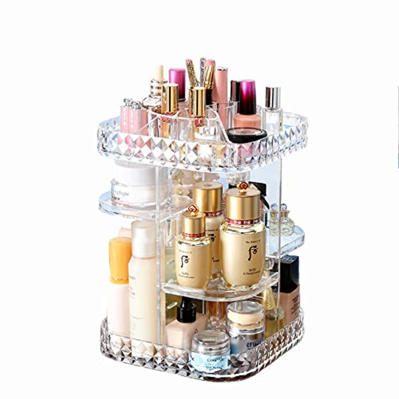 うま感謝する反毒化粧品収納ボックス 360℃回転式 高さ調節可能 高品質 超大容量メイクタワー 透明アクリル製 ダイヤモンドパターン