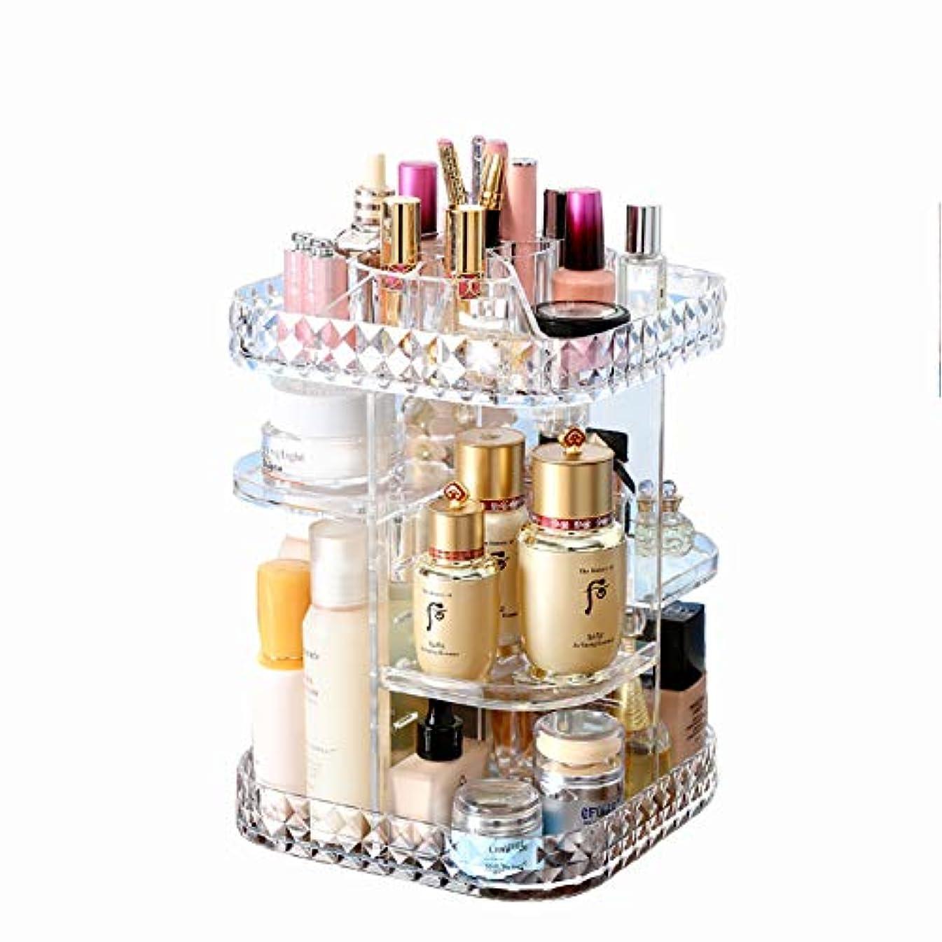 日食群集迅速化粧品収納ボックス 360℃回転式 高さ調節可能 高品質 超大容量メイクタワー 透明アクリル製 ダイヤモンドパターン