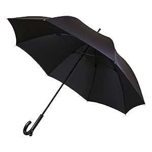 カバンがかけられる長傘 ランブレラ ベーシック 手開き ブラック 全2色 8本骨 65cm グラスファイバー骨 4573400570085