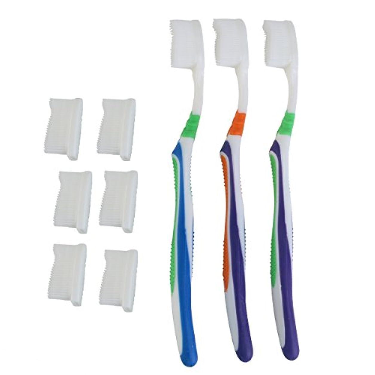 六分儀ギャラントリーバナナTOPBATHY 子供と大人のための歯ブラシの頭の代わりとなる柔らかい歯ブラシ(ランダムカラー)