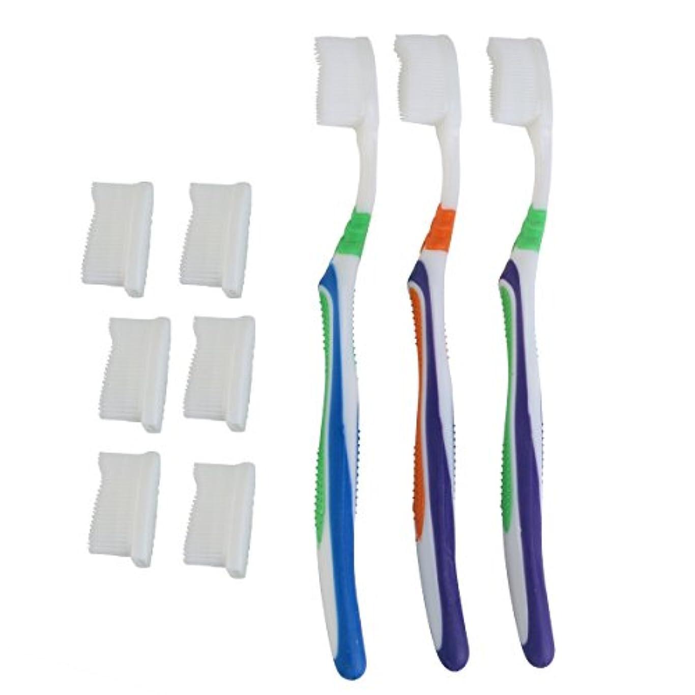 警告お風呂を持っている火傷TOPBATHY 子供と大人のための歯ブラシの頭の代わりとなる柔らかい歯ブラシ(ランダムカラー)