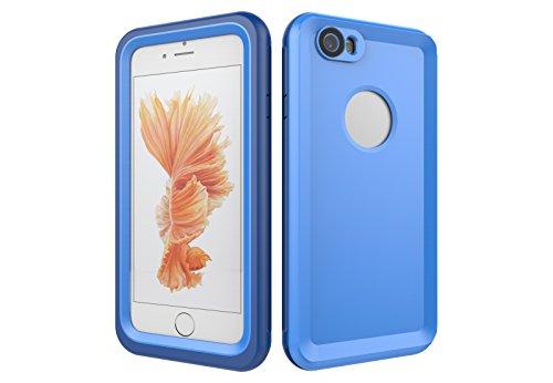 Iphone 6/6S 防水電話ケースは、HBER IP68完全密閉水泳ダイビング水中防塵耐雪性の耐震ヘビーデューティケースカバーは、iphone6/6Sのために敏感な画面タッチ指紋認証ロック解除をサポートしています (青)