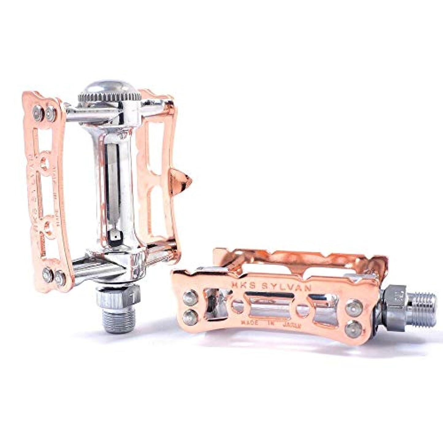 夕暮れアシスト安らぎMKS プライム シルバン トラック 9/16インチ トゥクリップ 適合 ロード自転車ペダル - 銅