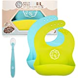 Peekabee Silicone Bibs Set (2pk) with Baby Spoon - Waterproof Bib, Wide Pocket Catches Everything, Wipes Clean - Baby & Toddler, Boy or Girl (Blue/Green)