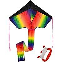 Delta Kite、WolfbushアウトドアスカイダンサーおもちゃRainbow Kiteポリエステルファイバーグラス三角形Flying Kite With Long Tail