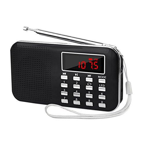 LEFON 充電式 多機能 AM FMポケットラジオ USB...