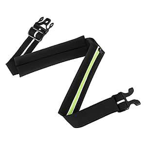 Hihill ウエストバッグ ランニングポーチ 防水 スポーツとアウトドア用 iPhone 7Plus/7 5.5インチ以内のスマホに対応 ブラックと蛍光グリーン BG-RB1