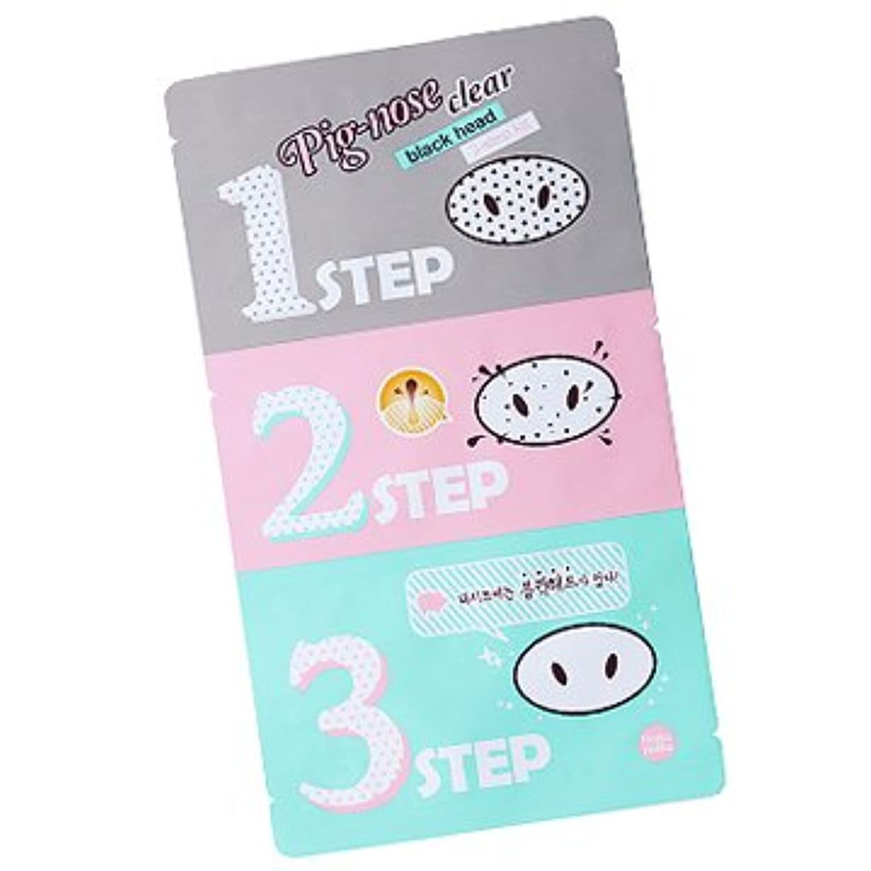 ランチョン依存破壊的Holika Holika Pig Nose Clear Black Head 3-Step Kit 10EA (Nose Pack) ホリカホリカ ピグノーズクリアブラックヘッド3-Stepキット(鼻パック) 10pcs...