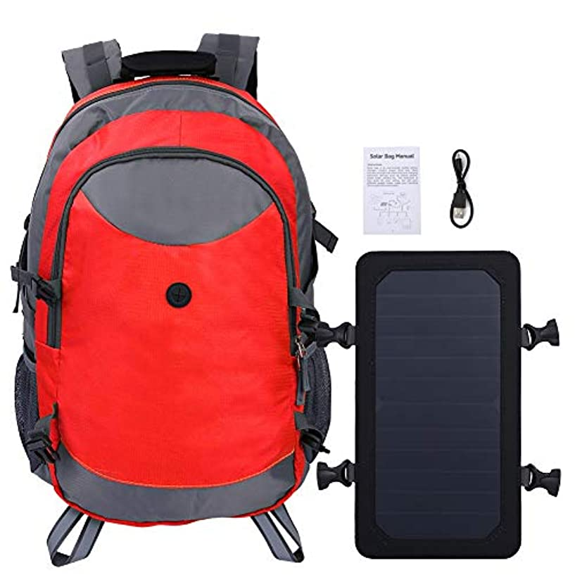 安全なポーズ芽ソーラーバックパック、サイクリングハイキングキャンプ用アウトドアユニセックスソーラー充電トラベルショルダーバックパック(赤)