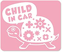 imoninn CHILD in car ステッカー 【マグネットタイプ】 No.53 カメさん (ピンク色)
