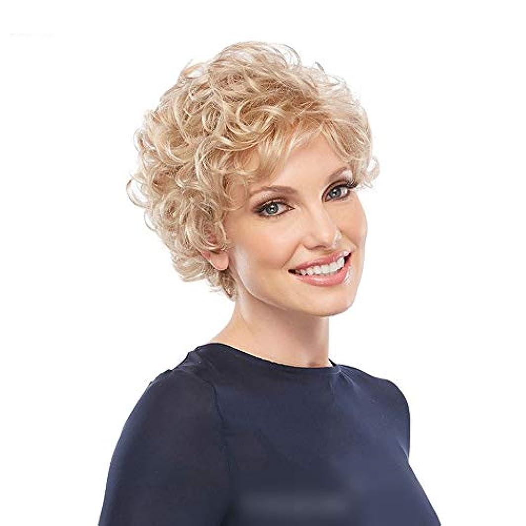 デコラティブ激怒信仰WASAIO 古典的なブロンドのかつら短い巻き毛ボブスタイル (色 : Blonde)