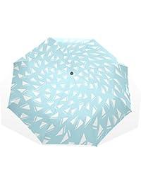AOMOKI 折り畳み傘 折りたたみ傘 日傘 手開き 三つ折り 梅雨対策 晴雨兼用 UVカット 耐強風 8本骨 男女兼用 幾何学 ブルー