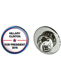 Hillary Clinton 2016 For President with Star Round Metal Lapel Hat Pin Tie Tack Pinback