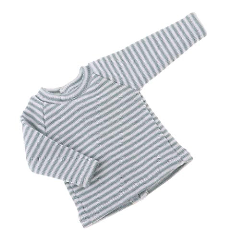 B Blesiya 3色 12インチブライス アゾン リカドール人形用 布製 衣類 ストライプトップス Tシャツ 人形服 - グレー