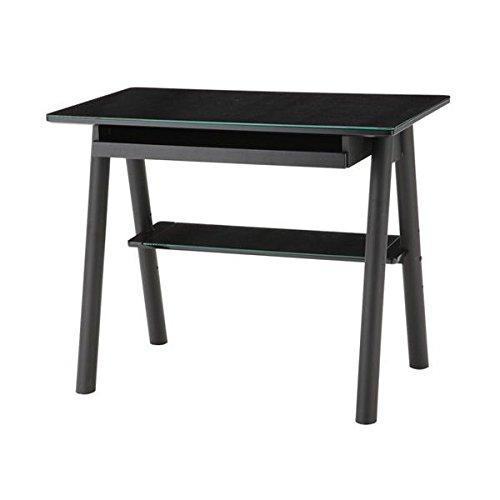 あずま工芸 ガラス デスク 机 テーブル パソコン EDG-1929 ブラック
