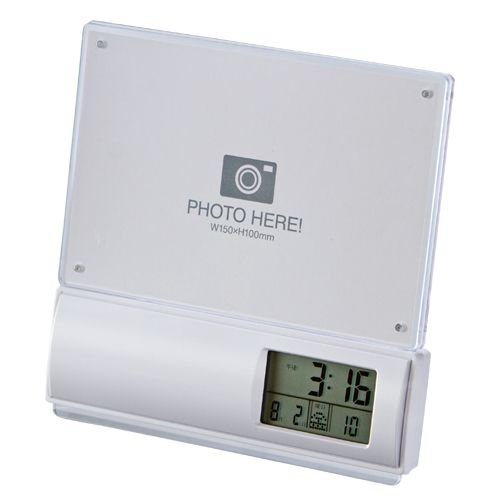 廣川 フォトフレーム 電波時計 ホワイト B00KHPWBPA 1枚目
