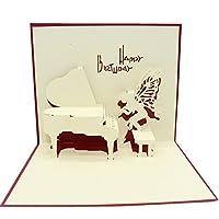 レンコス(Lemcos)3D ポップアップ グリーティングカード ピアノ 立体 飛び出す 多目的 バレンタイン 誕生日 入学 卒業 メッセージカード バースデーカード