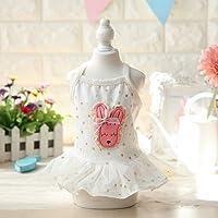 動物チワワうさぎは小型犬ピンクホワイトスター2色の洋服を弓子犬のために夏プリンセスペットスカートドレス:ホワイト、S