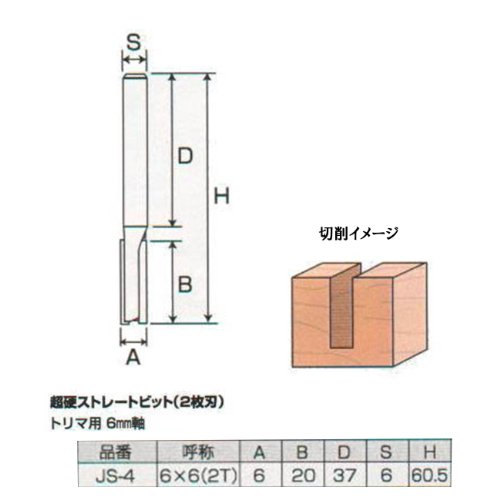 Justool 超硬ストレートビット 2枚刃 6×6 2T JS-4