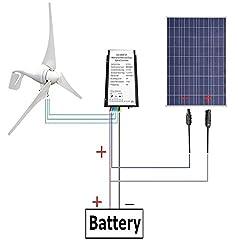 ECO-WORTHY 12V/24V 400 W風力発電機+12V 100 Wソーラーパネル+MC4 コネクター配線 L04WTG400-12P100-1